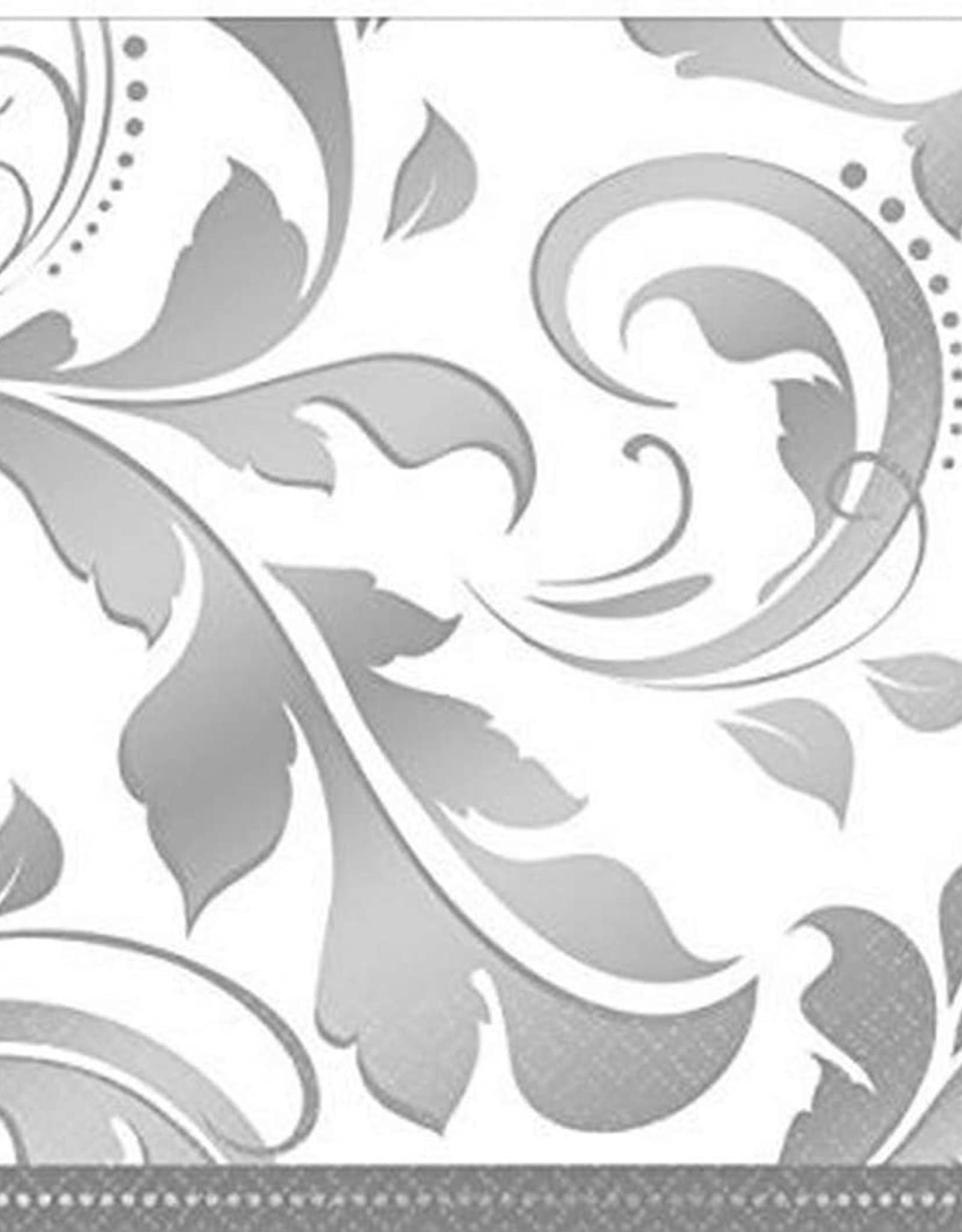 Silver Elegant Scroll Cocktail Napkin 16 ct