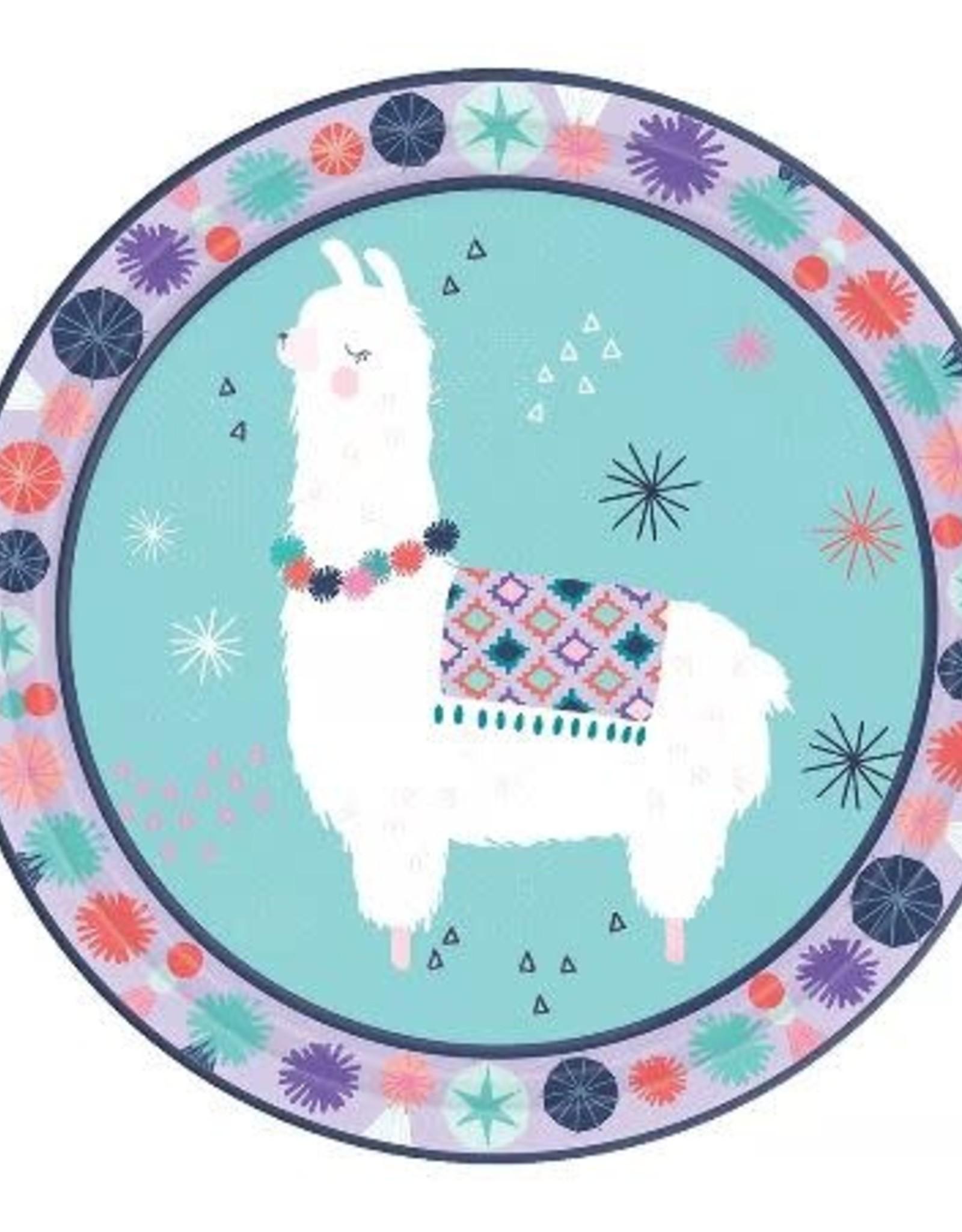 """Llama Fun 7 """" Paper Plates 8ct"""