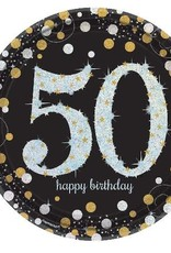 Prism Sparkle  50th Birthday 9 in Plates 8 ct