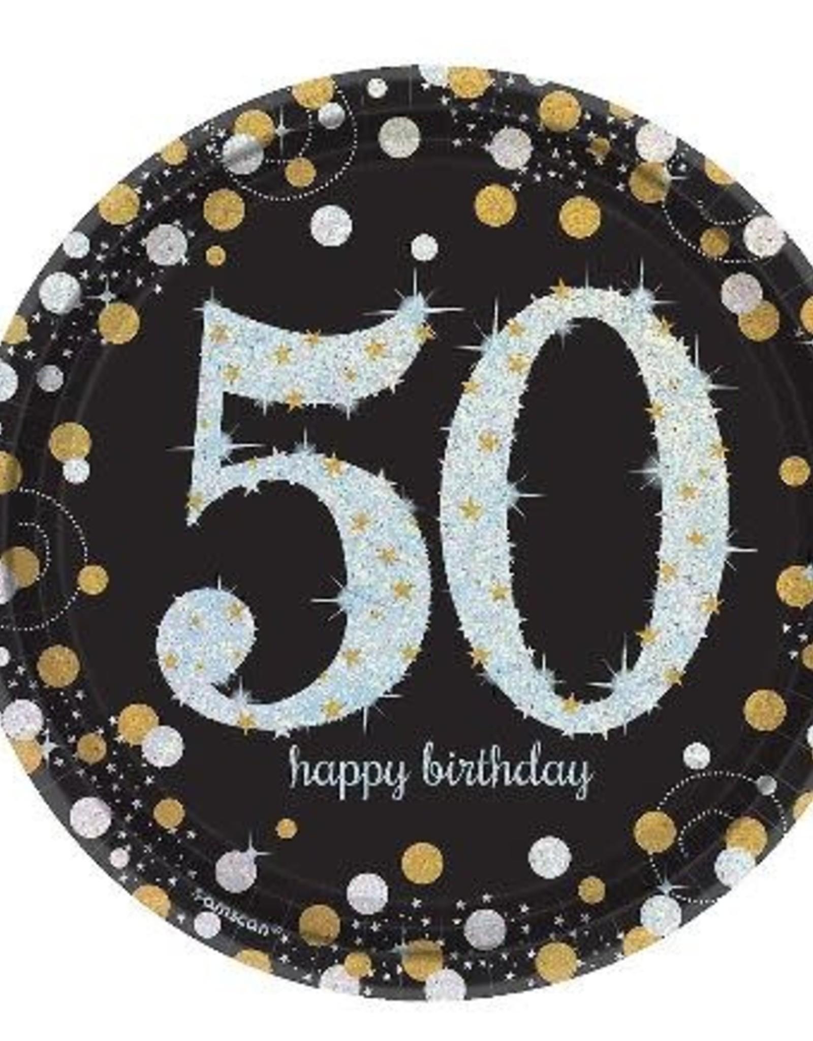 "Prism 50th Birthday 7 "" Paper Plates 8 ct"