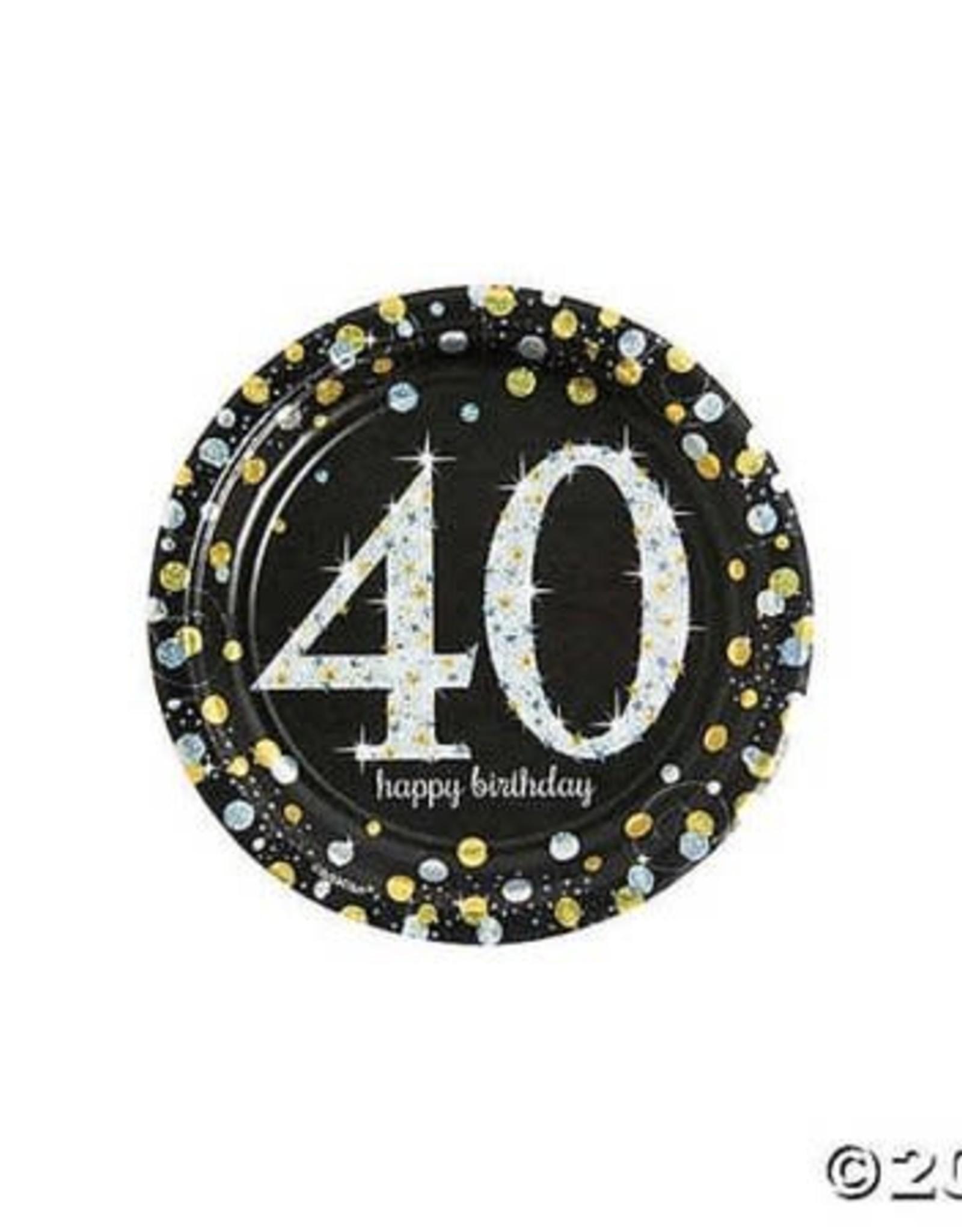 "40th Happy Birthday Plate 9"""