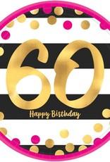 "60 happy birthday plate 7"""