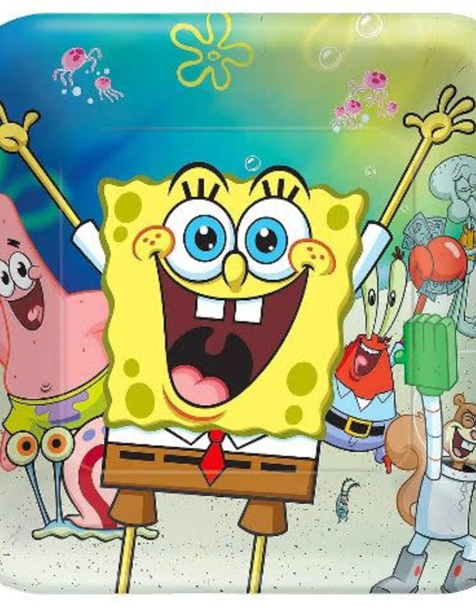 "Sponge bob Square  9"" Paper Plates 8ct"