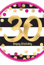 30th Birthday Party Round  Paper Plates Sm 8ct