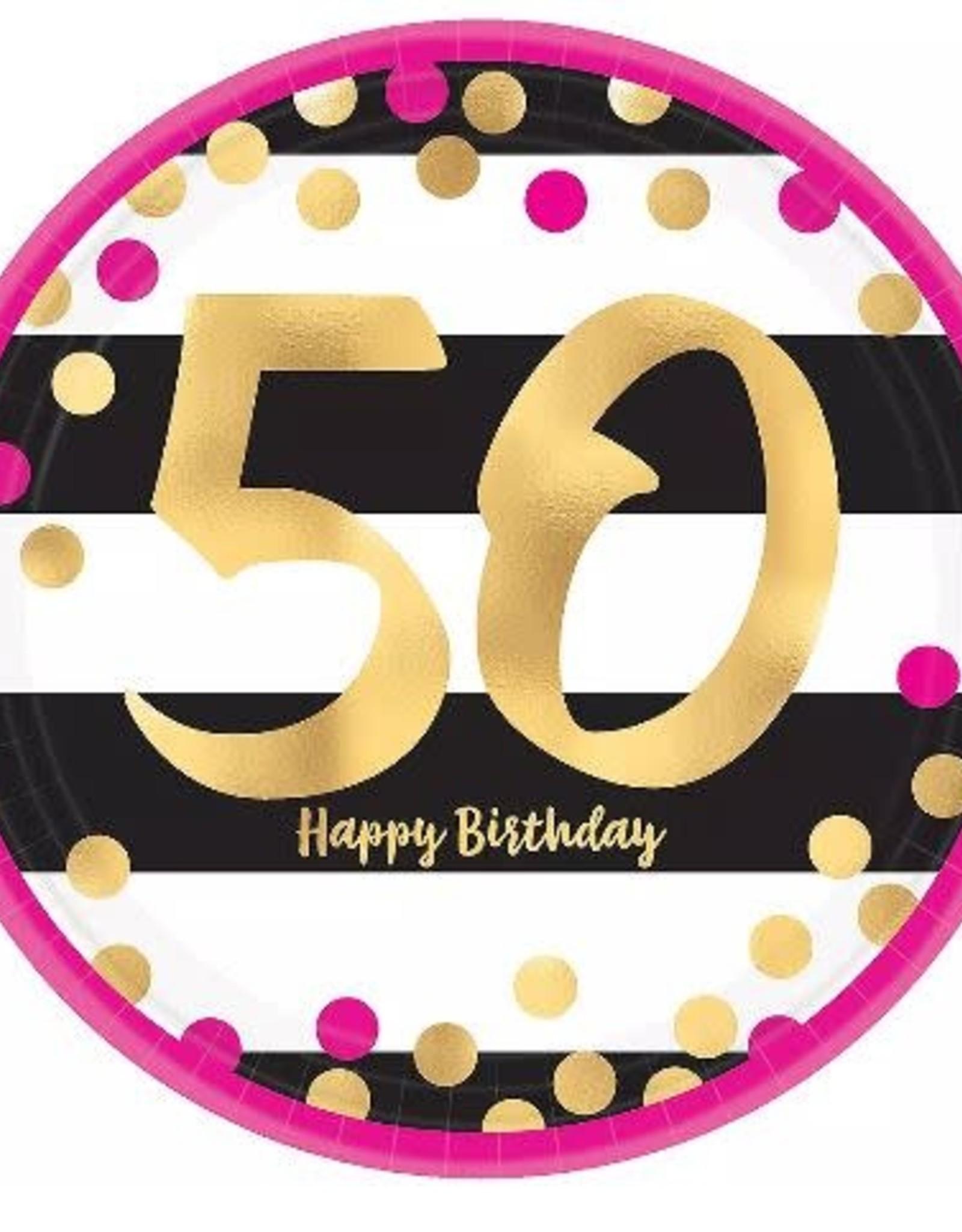 50th Birthday Dessert Plate 8ct
