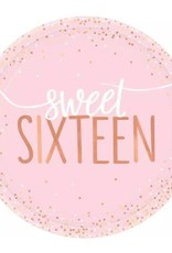 """Sweet Sixteen Gold 7"""" Paper Plates 8ct"""
