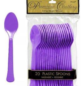 Plastic Purple Spoons 20 ct