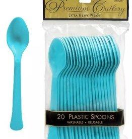 Plastic Caribbean Blue Spoons 20 piece