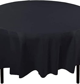 Jet black round table cover.