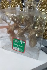 Ornaments gold Reindeer 3 count