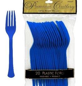 Plastic Fork Bright Royal Blue