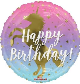 """18"""" Golden Unicorn Birthday Balloon"""