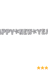 Silver Happy New Year banner