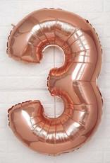 "40"" Rose Gold #3 Balloon"