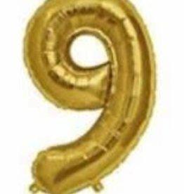 """16"""" Gold # 9 Balloon"""