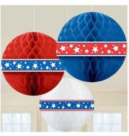 """Wallys party factory 4th of July 3 Honeycomb Balls 11.5"""""""