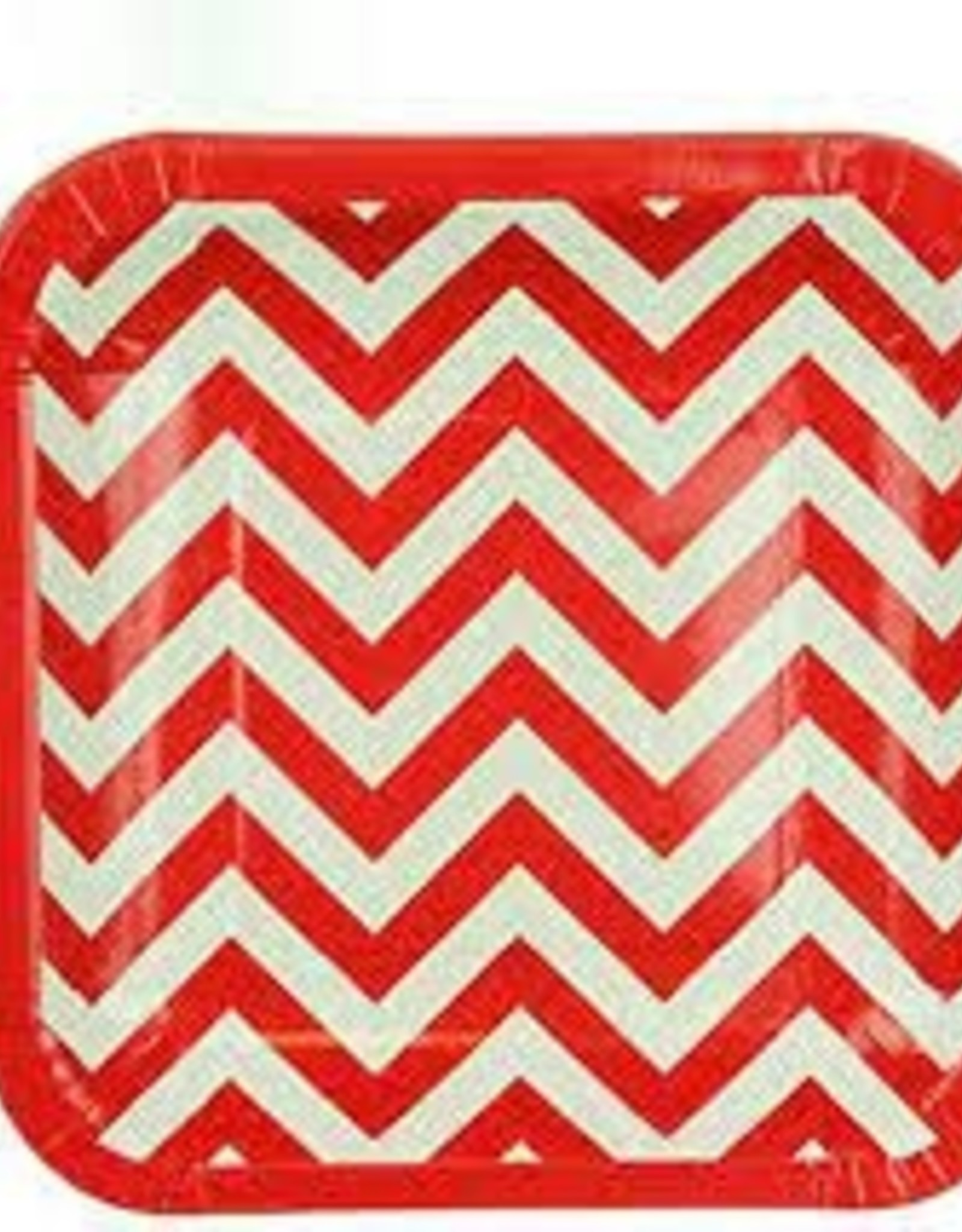 Wallys party factory Red Chevron Paper Plates Square
