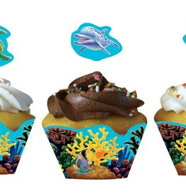 ACCESS Ocean Party Cupcake Wrappers, w/ Picks