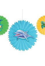 Wallys party factory Ocean Party Tissue Fans, w/ Attch