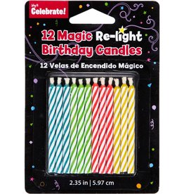 Wallys party factory magic re-light b-day candles 12ct