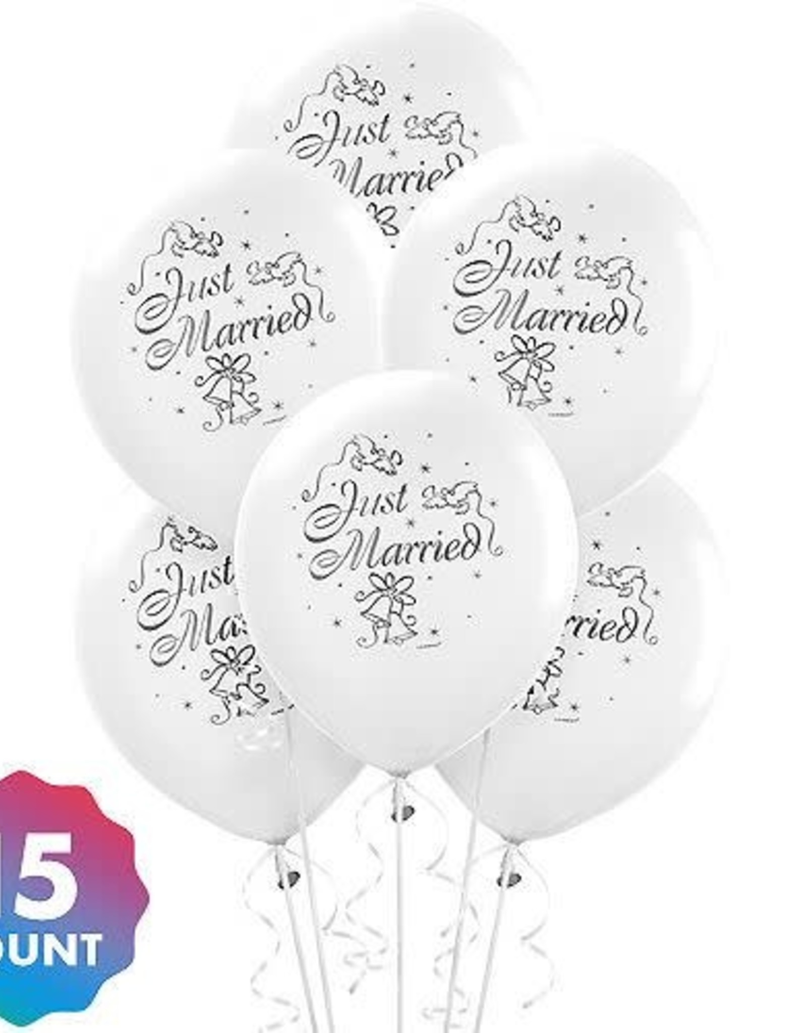 """Wallys party factory Just Married Balloons 15 count 12"""" round"""