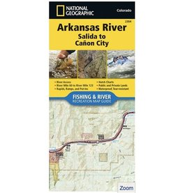 National Geographic Nat Geo Arkansas River Map (Detailed) Salida through Canon City