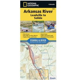 National Geographic Nat Geo Arkansas River Map (Detailed) Leadville to Salida