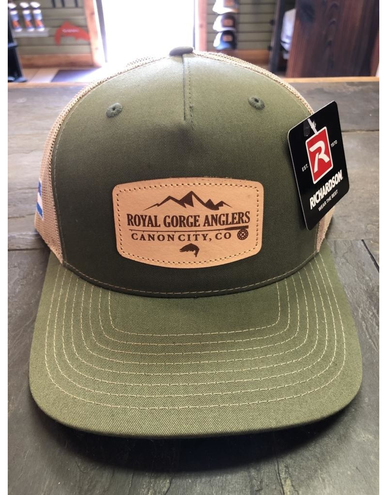 Richardson RGA Leather Patch Trucker (Army Olive/ Tan)