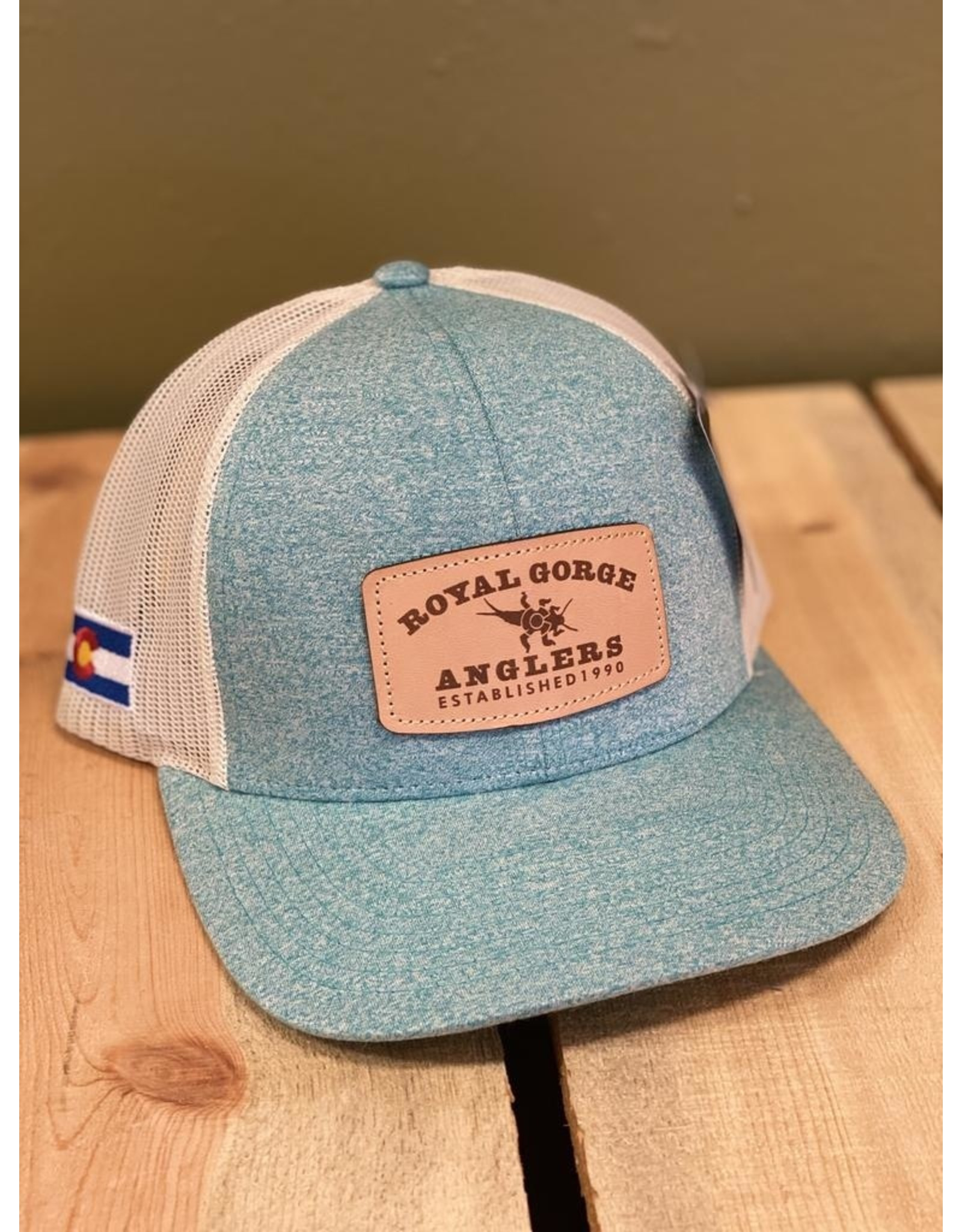 Richardson Stonebug Leather Patch Trucker (Green Teal/ Birch) *Small Fit