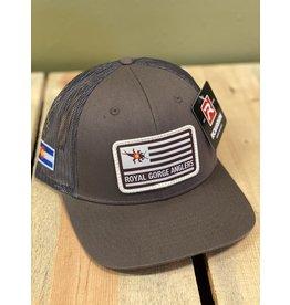 Richardson Stonebug Flag Patch Trucker Hat (Choc Chip/ Gray Brown)