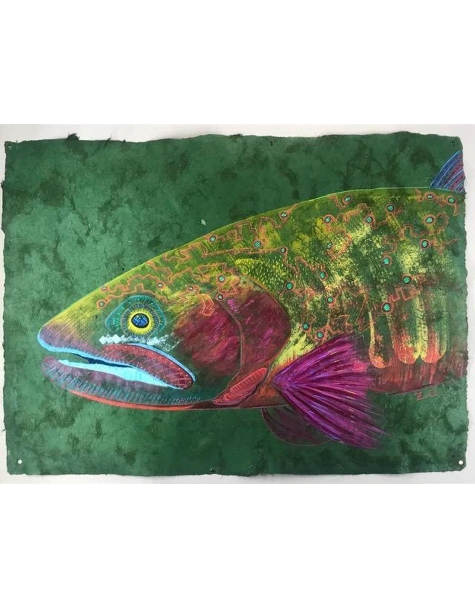 "Colorado River Cutthroat (23.5""x17.5"")  Acrylic on handmade Mayan Huun paper"