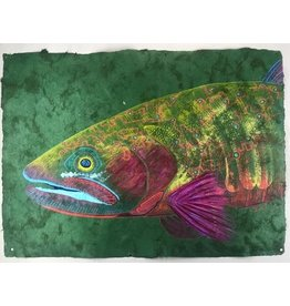 "Colorado River Cutthroat (23.5""x17.5"")  Acrylic on handmade Mayan Huun paper"