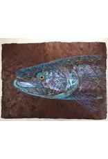 "Tribal Trout Rio Claro Solar Brown(23.5""x17"")  Acrylic on handmade Mayan Huun paper"