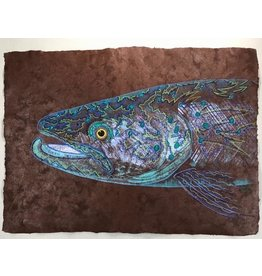 "Tribal Trout Rio Claro Solar Brown(23.5""x17"")  Acrylic on handmade Mayan Huun paper"