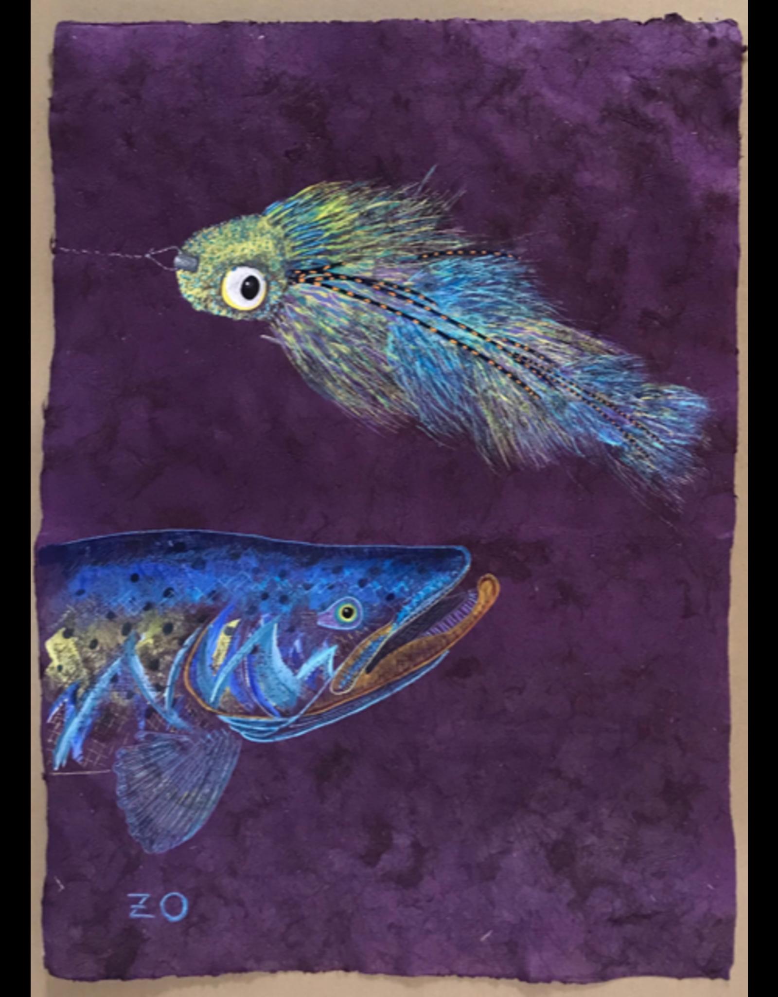 """el Macho del Corcovado y la Electric Chicken (17""""x23.5"""")  Acrylic on handmade Mayan Huun paper"""