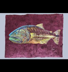 """el Tigre del Rio (23.5""""x17.5"""")  Acrylic on handmade Mayan Huun paper"""