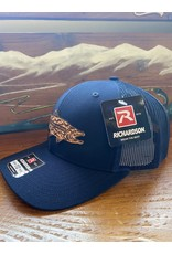 Richardson RGA Tribal Trout Leather PatchTrucker Hat (Solid Navy)