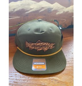 Richardson Tribal Trout Leather Patch Camper Performance Hat (Loden)