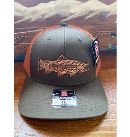 Richardson RGA Tribal Trout Leather Patch Trucker Hat (Dk Lode/Jaffa Orange)