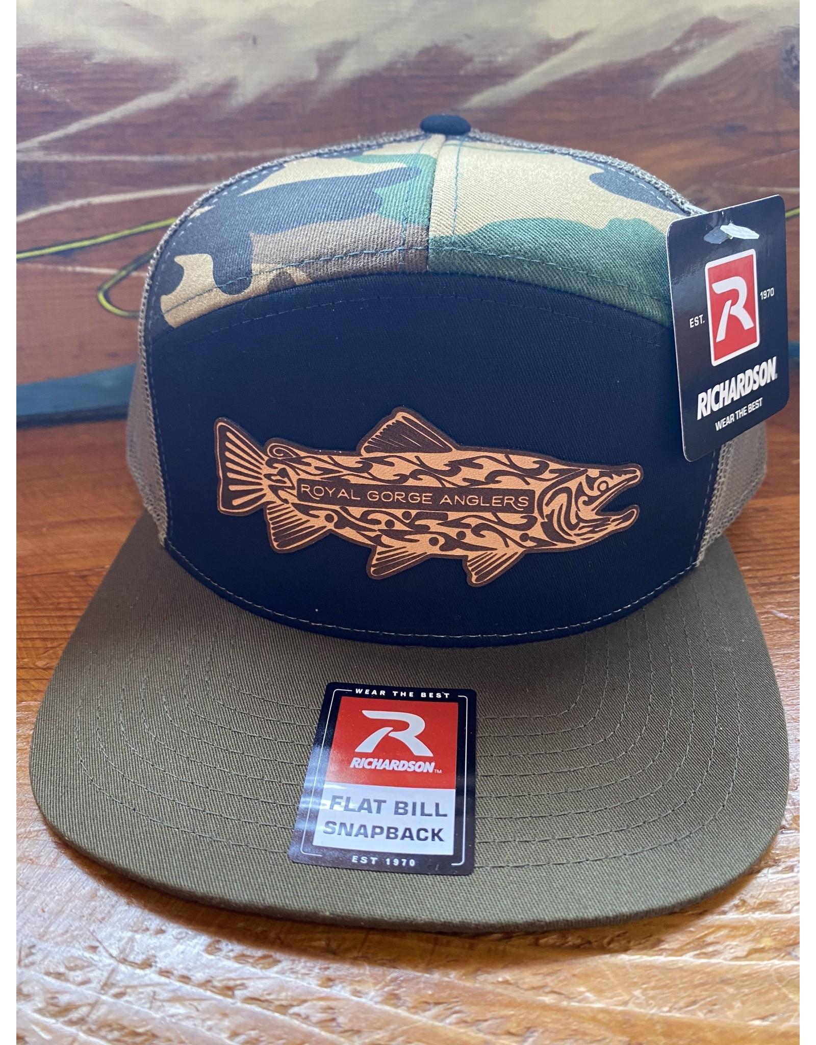 Richardson RGA Tribal Trout Leather Patch Trucker Hat (Tri-Green/ Black/ Camo)