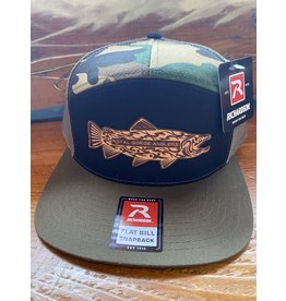 Richardson RGA Tribal Trout Leather Patch Trucker Hat (Tri-Green/ Black/ Camo)