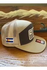 Richardson RGA Flag Patch Trucker Hat (Tri Panel-Brown/ Khaki)