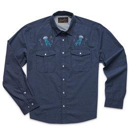 Howler Gaucho Snapshirt Deep Blue Microstripe Jellyfish