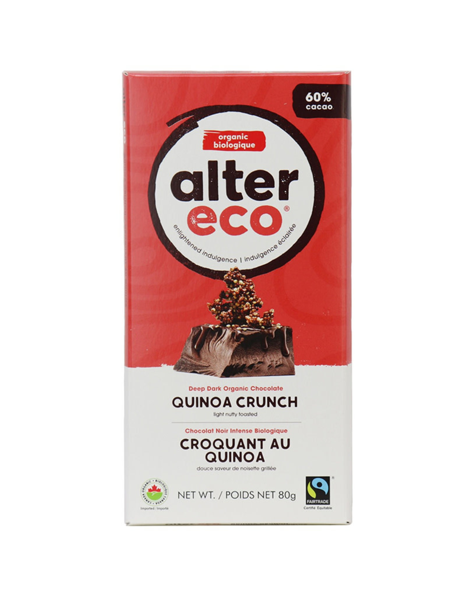 Alter Eco Alter Eco - Tablette de Chocolat Noir, Quinoa Bio (80g)