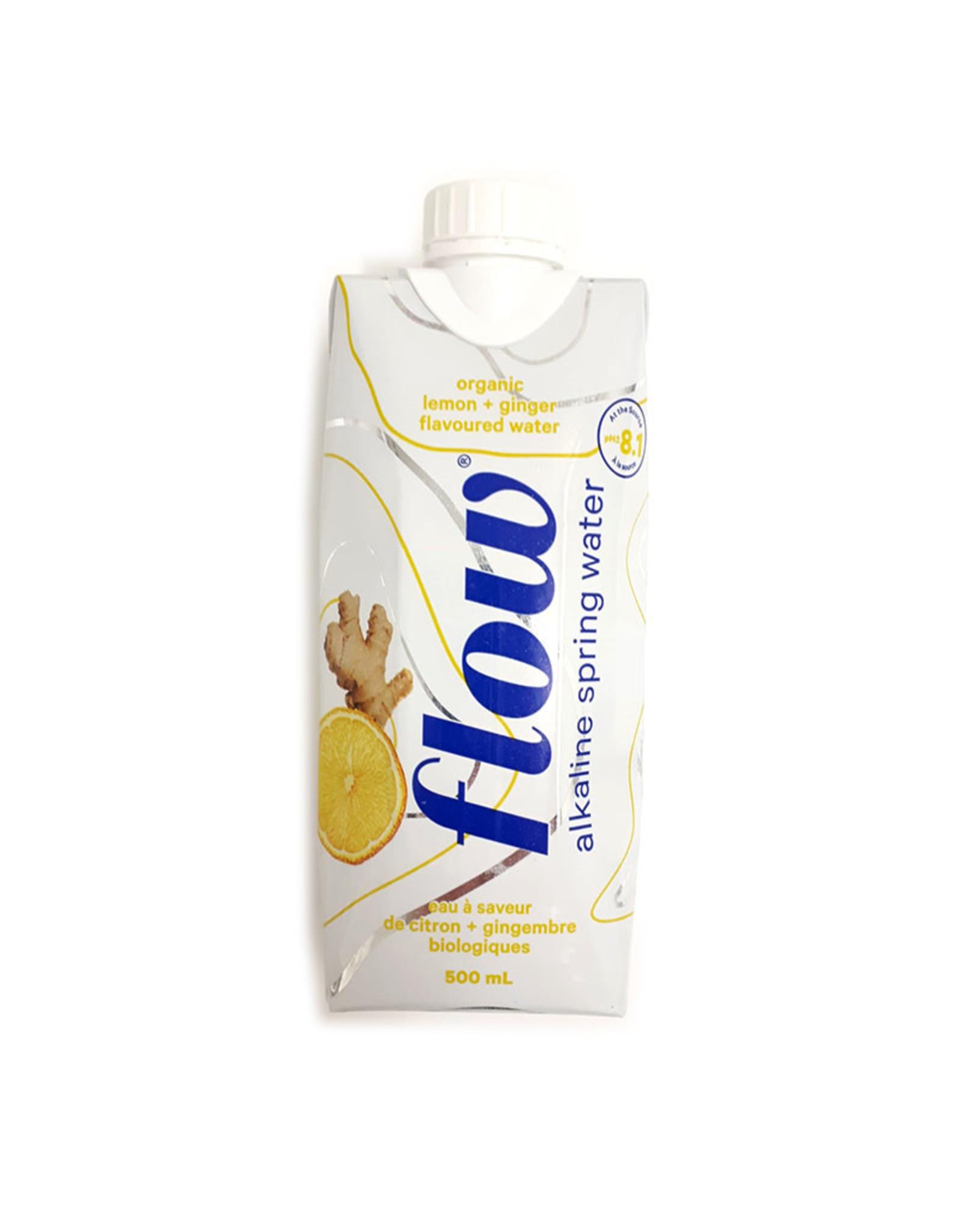 Flow Flow - Eau de Source Naturellement Alcaline, Citron+gingembre Bio (500ml)