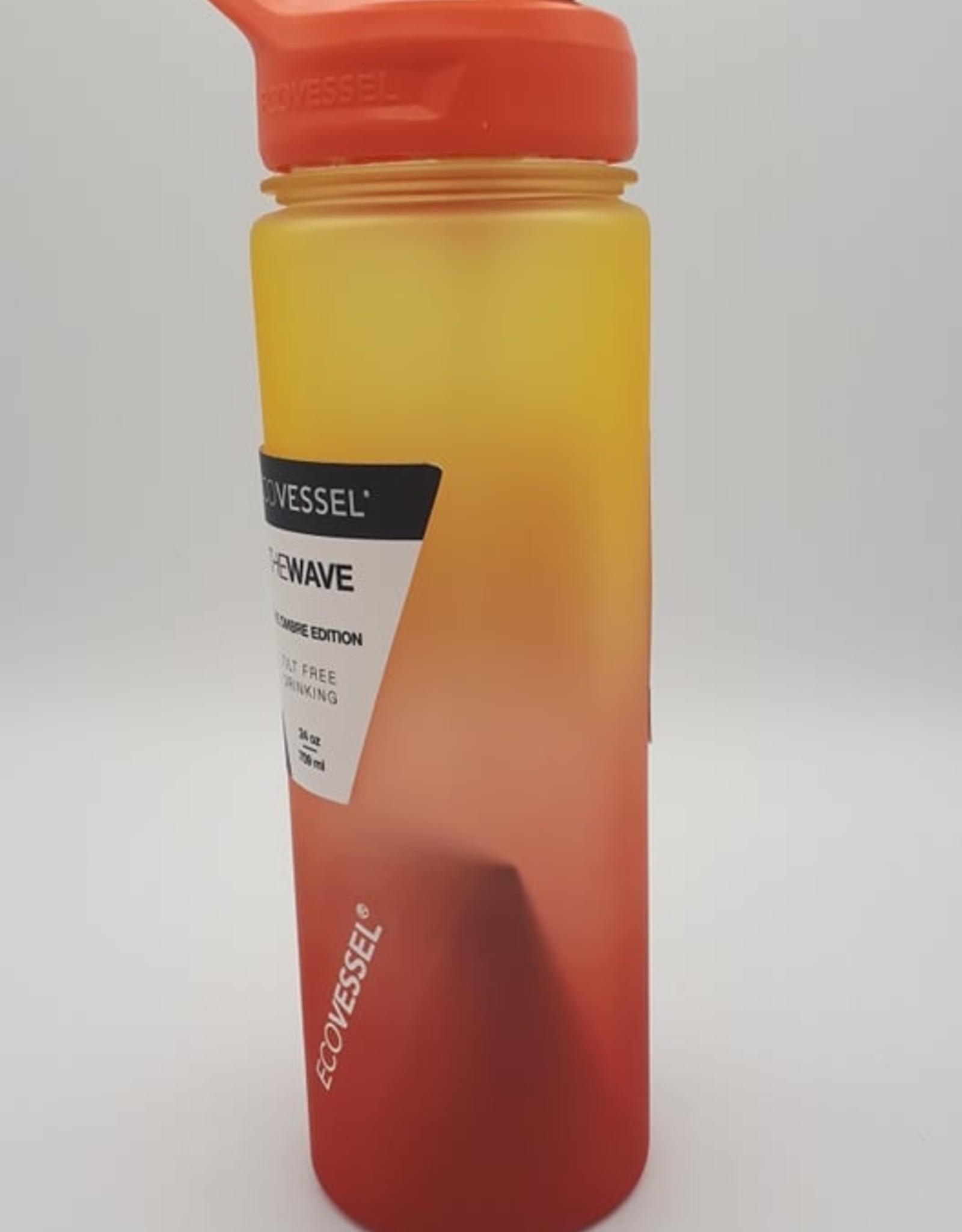 Ecovessel Eco Vessel - Bouteille de Plastique Avec Paille, Soleil Couchant (710ml)