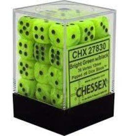 Chessex Chessex (27830): D6: 12mm: Vortex: Bright Green/ Black