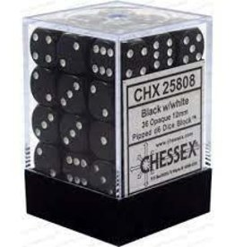 Chessex Chessex: 12mm: D6: Opaque: Black/White
