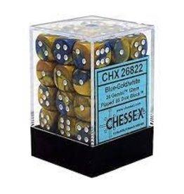Chessex Chessex: 12mmD6: Gemini Blue-Gold/white