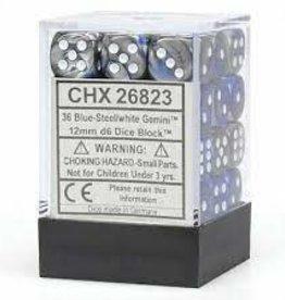 Chessex Chessex: 12mmD6; Gemini Blue-Steel/white